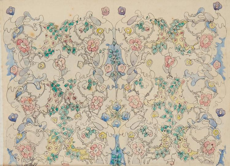 King (Jessie M.) - Design for an art nouveau floral panel,