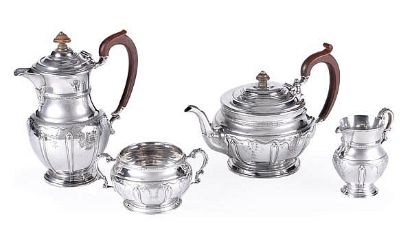 A silver four piece baluster tea service by