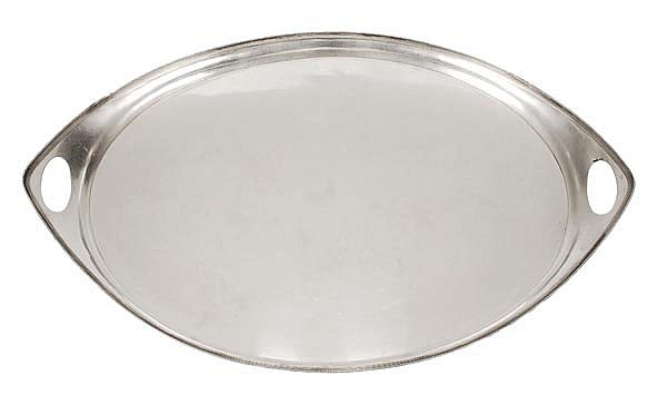 A silver navette shaped tray by William Hutton &