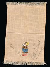 Disney, Walt and Lilian - Beige-fringed handkerchief with an embroidered colour image of...