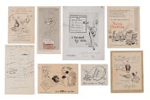 Fearon, Percy [Poy] - Collection of fourteen Christmas cards with printed sketches after...