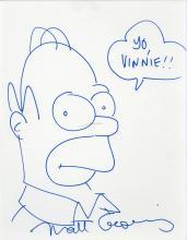 Groening, Matt - Blue felt tip sketch of Homer Simpson on off-white matt board