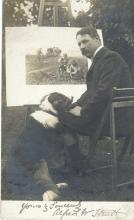 Strutt, Alfred William - Vintage, black and white postcard photograph of Strutt in a garden...