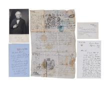 19th Century Politicians - Collection of letters and papers signed by prominent British figures
