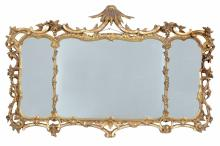 A giltwood triptych wall mirror in George III style