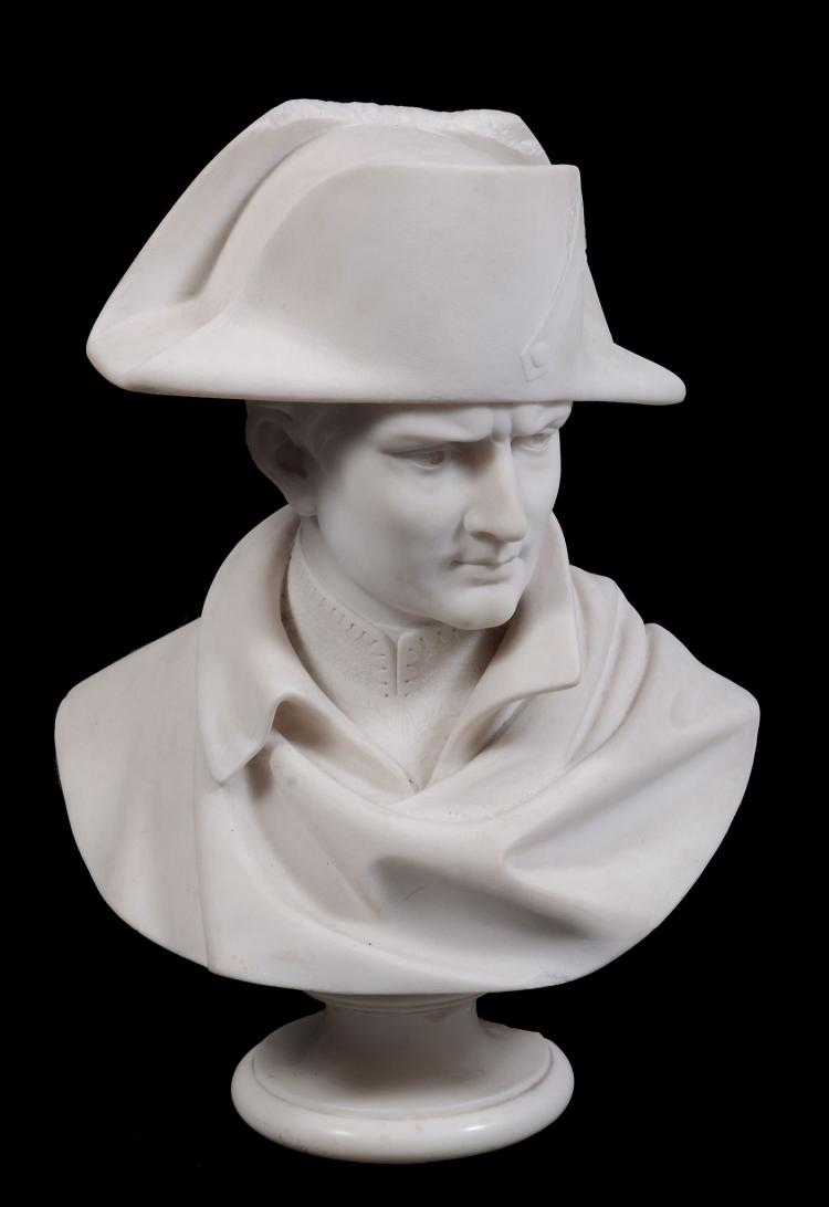 A sculpted Carrara marble bust of Napoleon Bonapart, mid 19th century