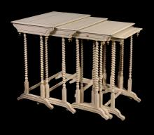A cream painted and parcel gilt nest of five occasional tables , 19th century