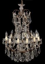 A Continental cut glass twleve light chandelier in Louis XV taste