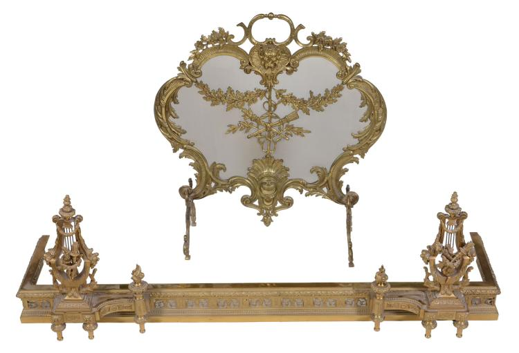 A gilt metal and wire mesh fireguard in Louis XV taste, circa 1900