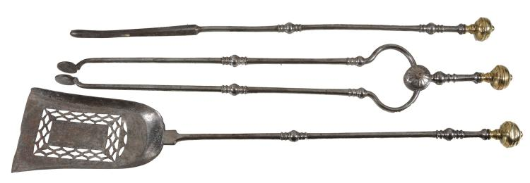A set of three George III steel and brass fire irons, late 18th century