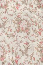 A pair of cotton interlined curtains, printed with a Chinoiserie design in...
