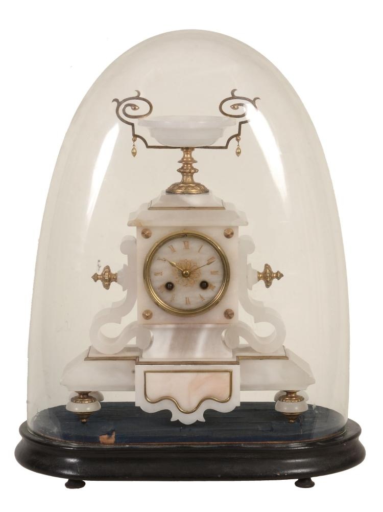 A French alabaster and gilt metal mounted mantel clock