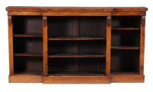 A Victorian walnut breakfront bookcase , mid 19th century, 101cm high