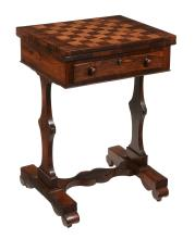 A rosewood games table, circa 1840, possibly Colonial