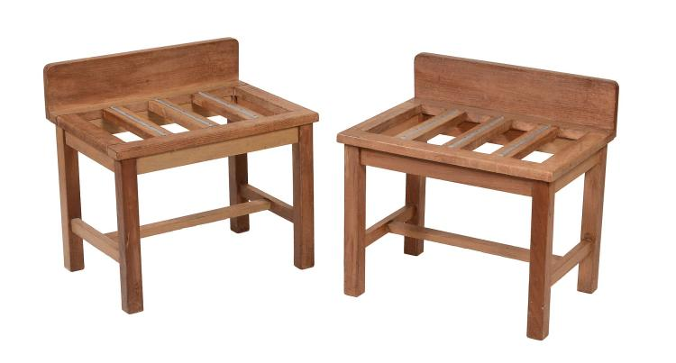 A pair of oak luggage stands, 20th century , in Victorian style