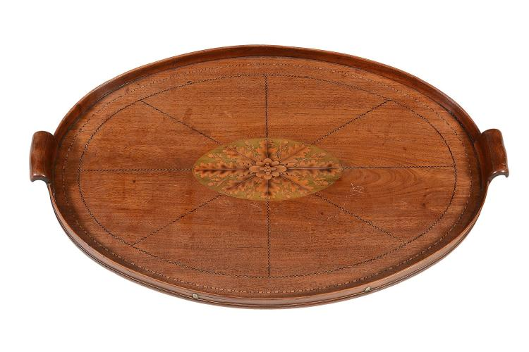 A George III mahogany and marquetry oval tray, circa 1800
