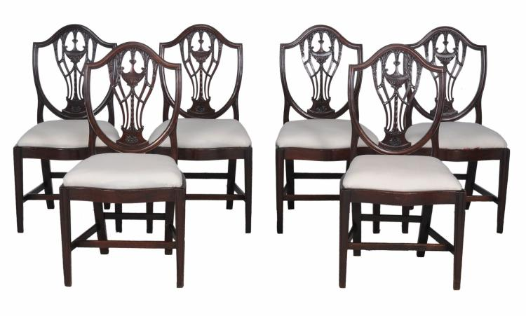 A set of six dining chairs in George III style , 19th century