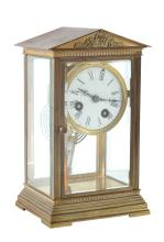 A French four glass mantel clock , early 20th century