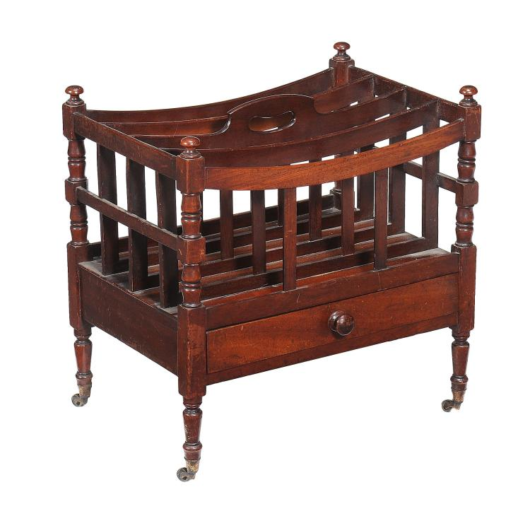 A Regency mahogany canterbury, circa 1820, 51cm high, 50cm wide, 35cm deep