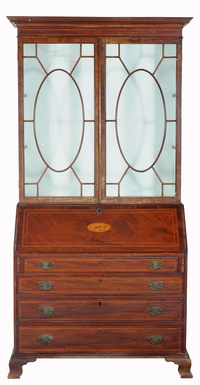 A George III mahogany bureau bookcase , circa 1800