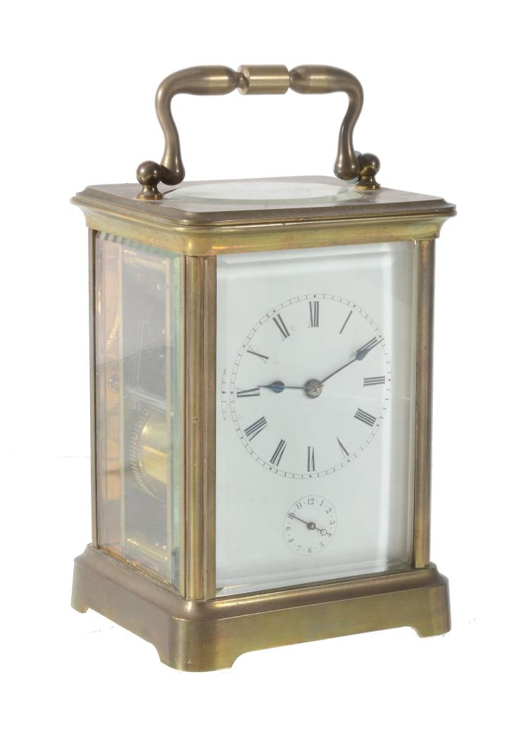 A French brass cased carriage clock with alarm , unsigned, 20th century