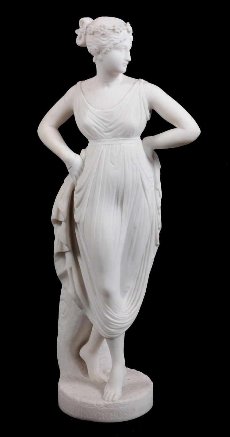 After Antonio Canova , a sculpted white Carrara marble model of a maiden, Úncer