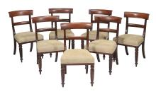 A set of seven mahogany bar back dining chairs , first quater 19th century,