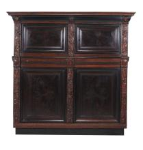 A Dutch rosewood, oak and ebonised press cupboard, dated 1688