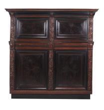 A Dutch rosewood, oak and ebonised press cupboard, dated 1688