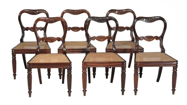 A set of six William IV solid rosewood dining chairs , circa 1835
