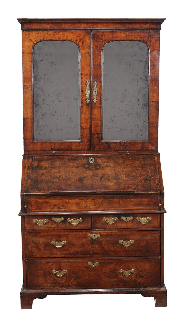 A George I walnut bureau bookcase , circa 1720