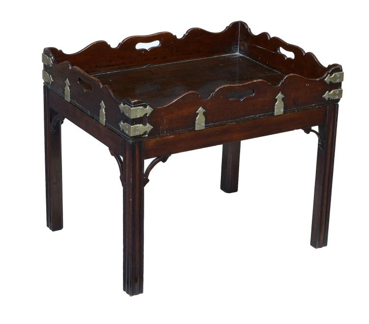 A George III mahogany and brass mounted tray on stand, the tray circa 1780
