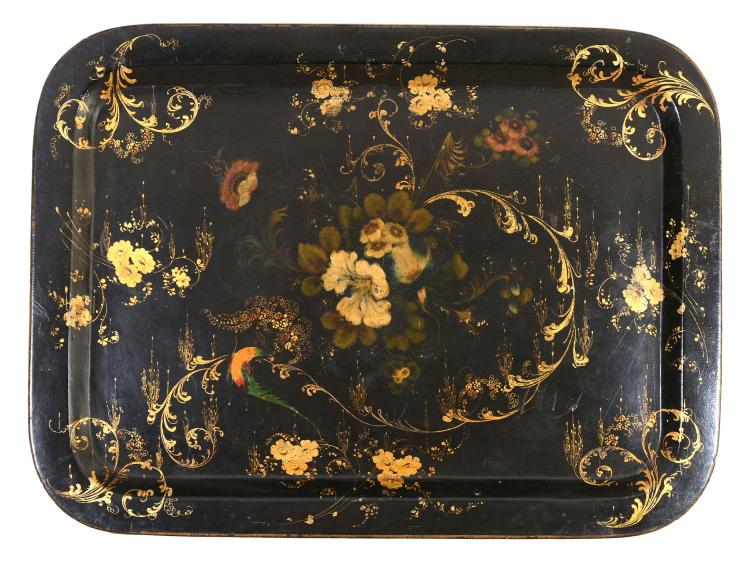 A Victorian parcel gilt and painted black papier mache tray, mid 19th century