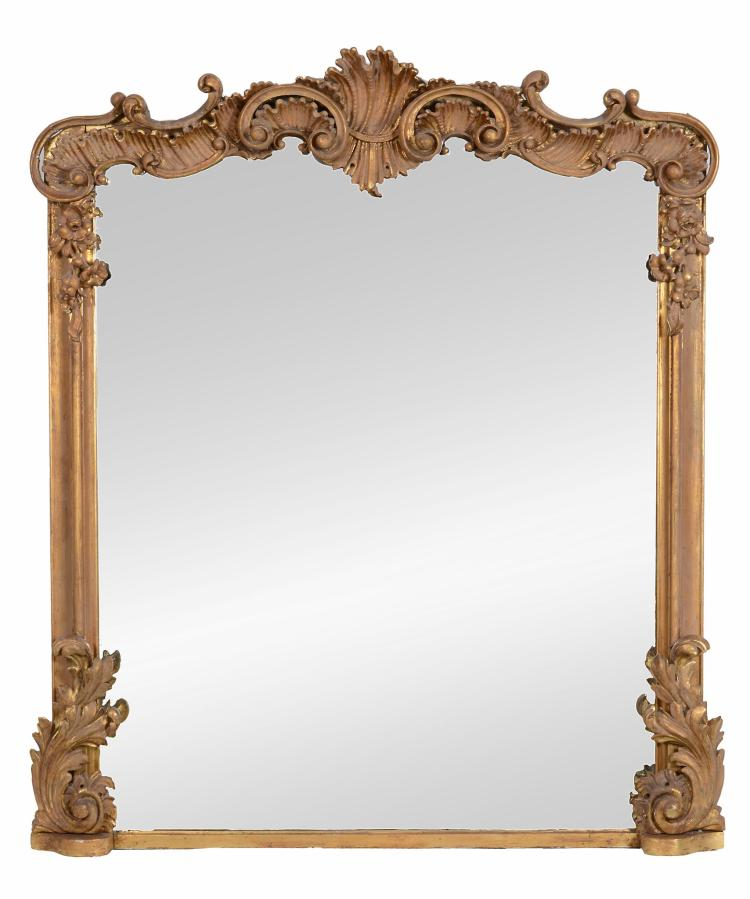 A Victorian carved giltwood overmantel mirror , circa 1870, 144cm, 122cm wide,