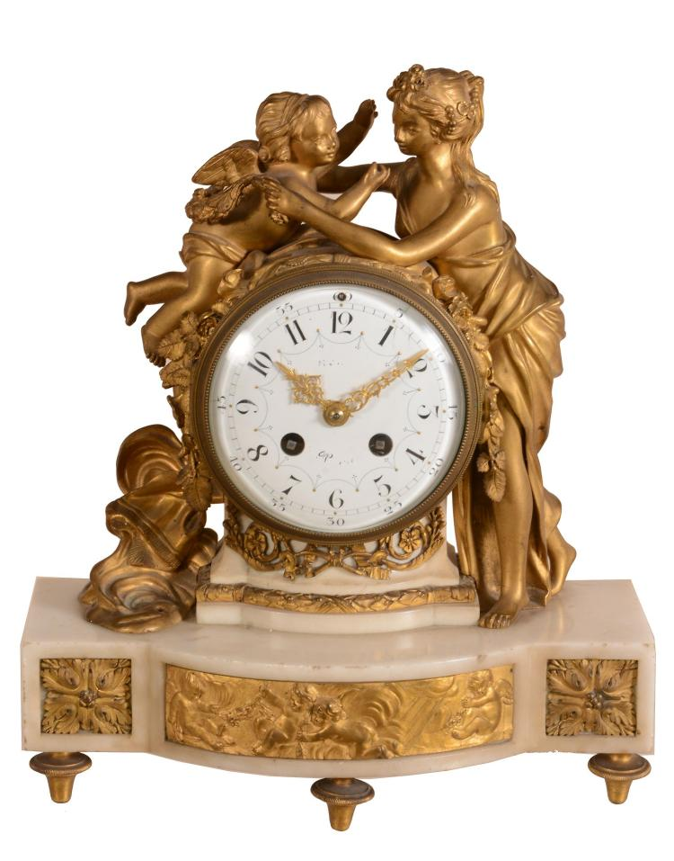 A French Louis XVI style ormolu and white marble figural mantel clock