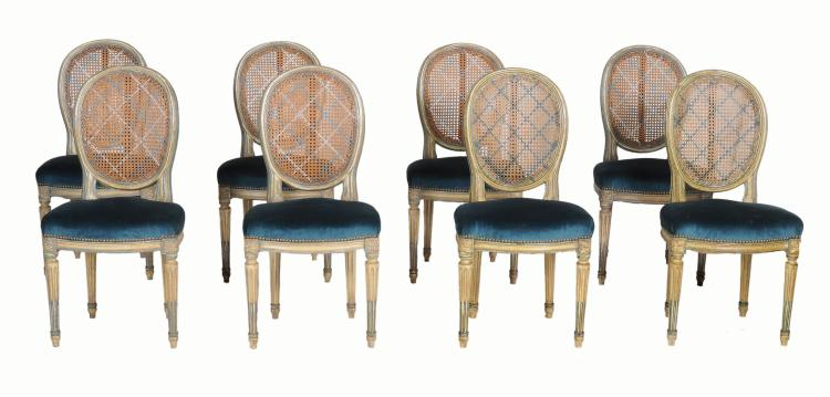 A set of eight painted chairs in French 18th century style
