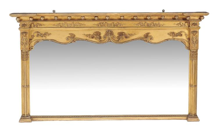 A giltwood and composition overmantel mirror in George IV style