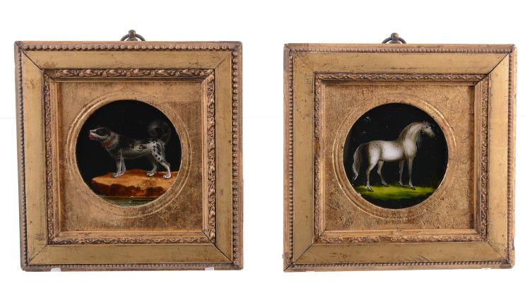 A pair of late George III reverse glass painted miniature pictures of a...