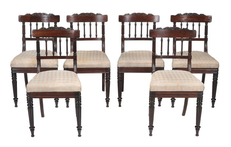 A set of six George IV Regency rosewood dining chairs , circa 1825