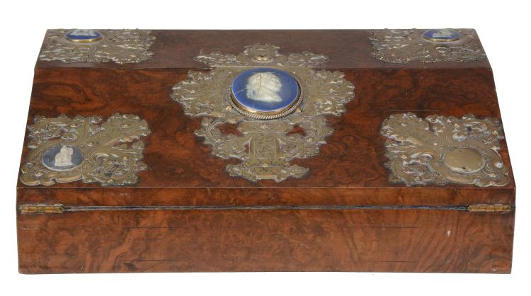 A Victorian burr walnut, porcelain and gilt brass mounted writing slope