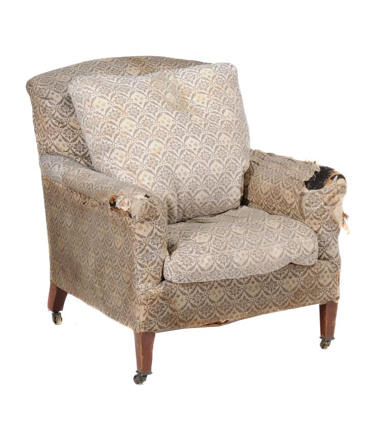A mahogany and upholstered armchair by Howard & Sons, circa 1870