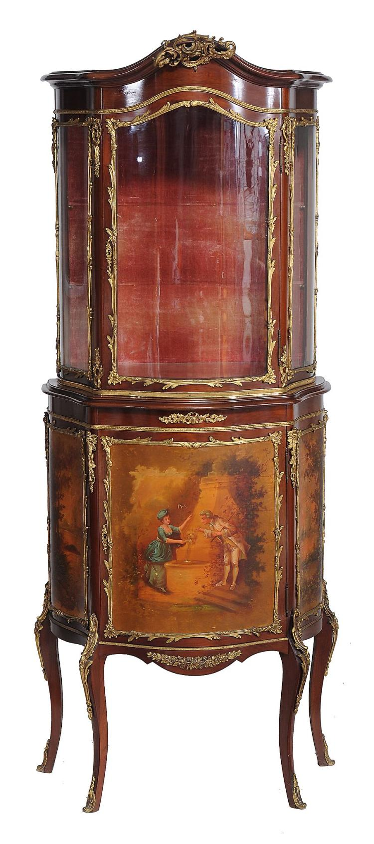 A French mahogany Vernis Martin and gilt metal mounted display cabinet