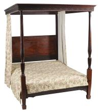 A mahogany four-poster bed in George III style , late 19th century, 206cm high