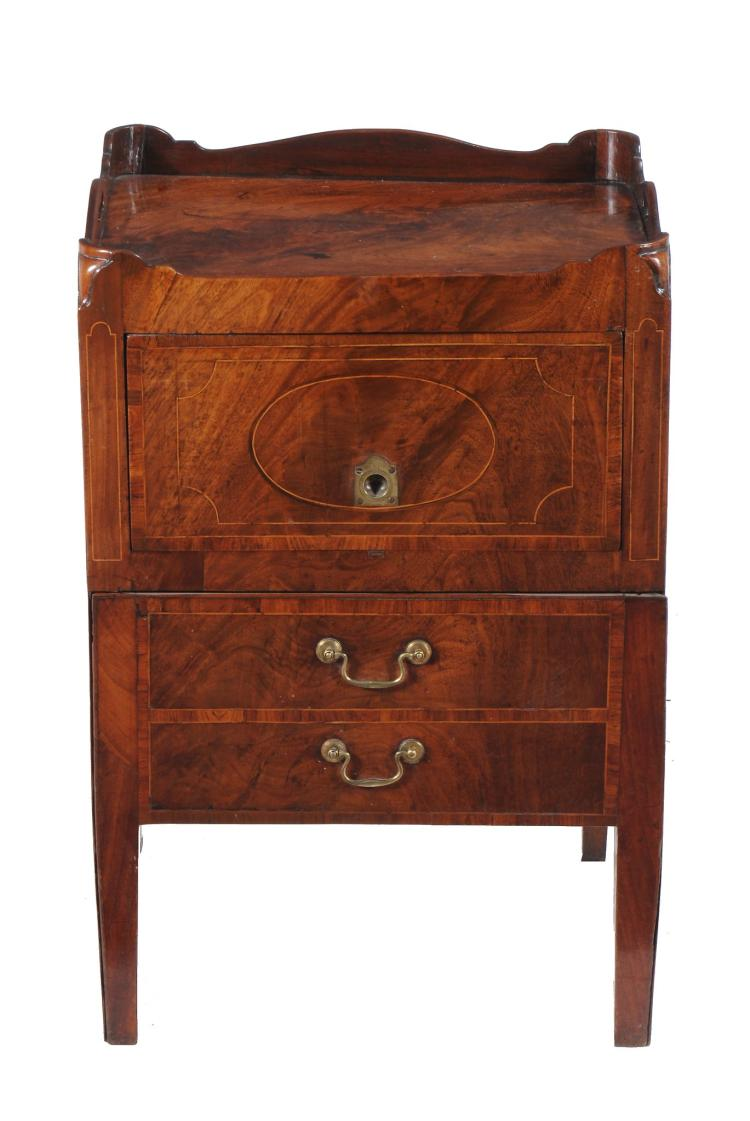 A George III figured mahogany and cross banded bedside cabinet, circa 1770