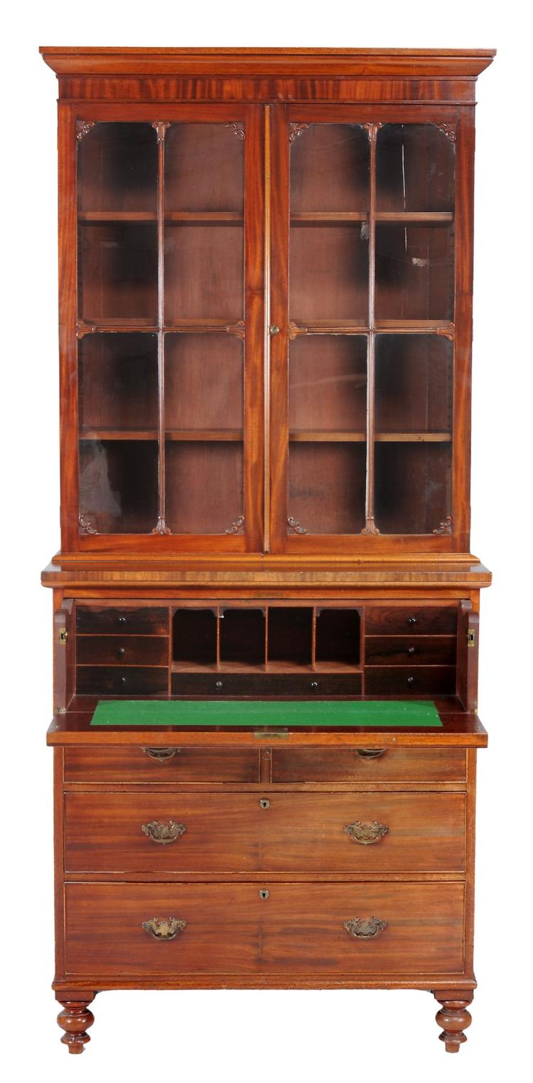 A William IV mahogany secretaire bookcase , circa 1830