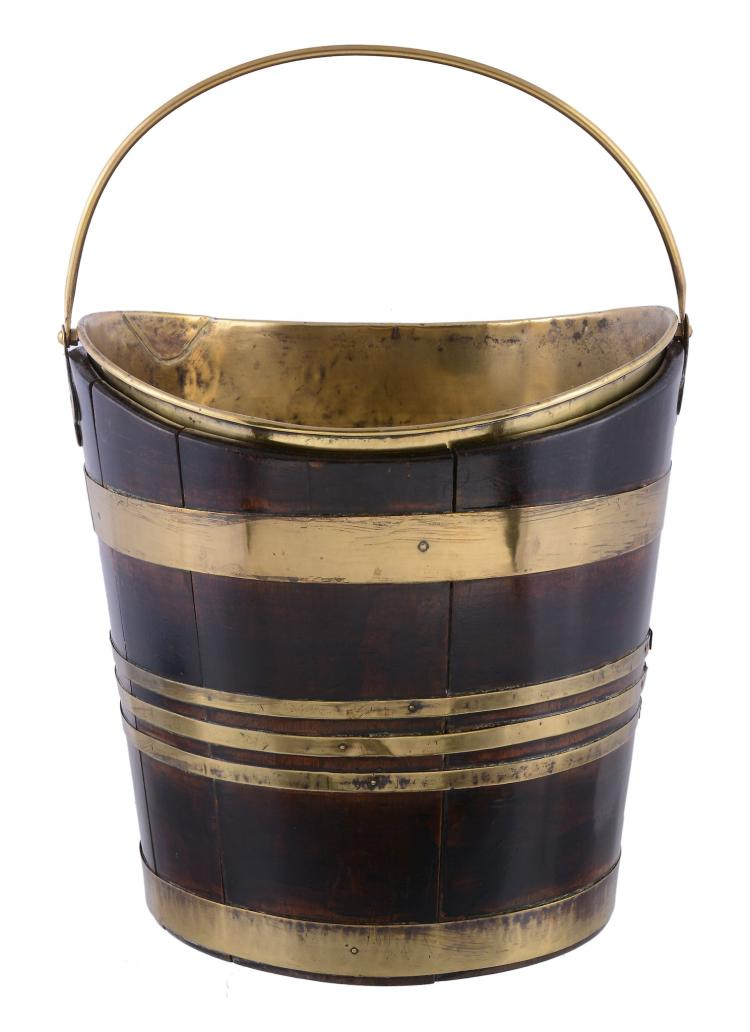 A George III mahogany and brass banded tea kettle bucket, late 18th century
