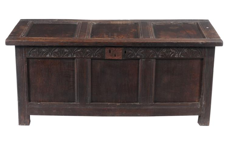 A Charles II panelled oak chest, circa 1680, 58cm high, 131cm wide, 58cm deep