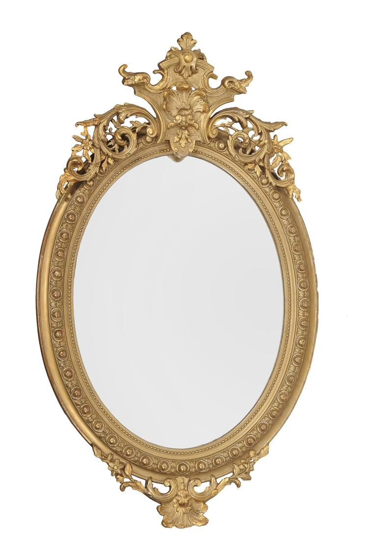 A Victorian giltwood and composition wall mirror , second half 19th century