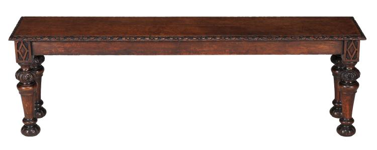 A Victorian oak hall seat, circa 1860, 44cm high, 138cm long, 28cm deep
