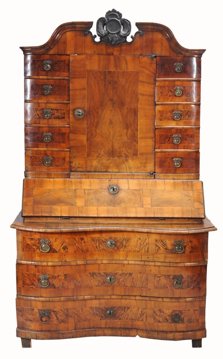 A South German walnut bureau cabinet, late 18th Century